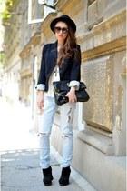 black H&M blazer - blue Zara jeans