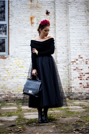 black Mono Shoes boots - black Chicwish sweater - black BAD style skirt
