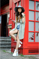 white Lamoda UK shoes - heather gray Zara hat - white Choies top