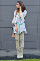 heather gray Mono Shoes boots - sky blue PERSUNMALL dress
