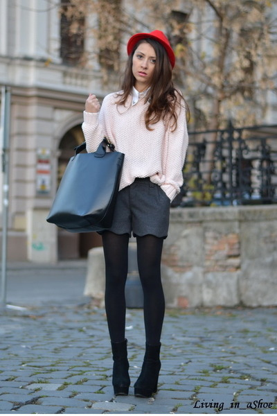 black OASAP boots - gray Sheinside shorts