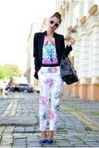 black Zara blazer - bubble gum Sheinside shirt - light pink SwayChic sunglasses