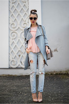 charcoal gray Chicwish coat - light blue Zara jeans - light pink Magazin Up top