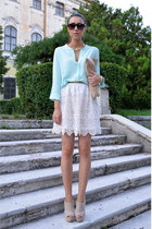aquamarine Sheinside shirt - beige custom made bag - beige Local Boutique heels