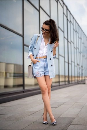 light blue blazer - light blue shorts