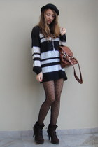 black Zara sweater - black H&M tights - brown Zara boots - brown H&M - black New