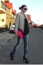 heather gray second hand coat - black Zara shoes - blue pull&bear jeans