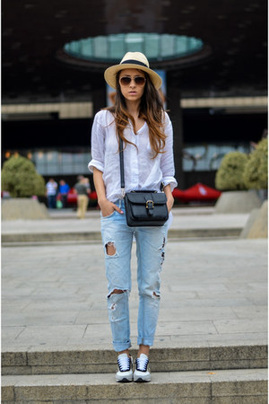 white tandy shoes - sky blue Zara jeans - beige H&M hat - white Zara shirt