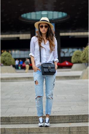 white tandy shoes - sky blue Zara jeans - beige H&M hat - white Zara shirt