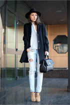 black Marc OPolo coat - black Love Moschino bag - periwinkle Choies vest