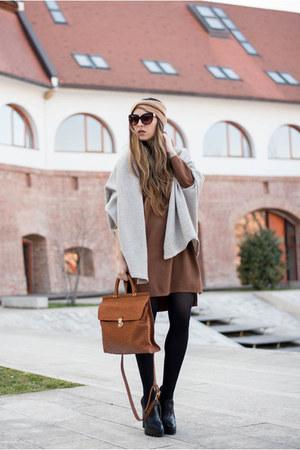 brown Sheinside dress - gray cardigan