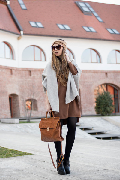brown Sheinside dress - gray cardigan