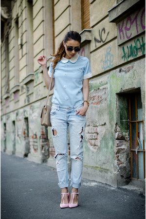 light blue OASAP blouse - light pink Zara shoes - light blue Zara jeans