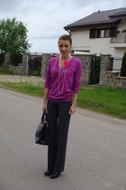 purple Marks and Spencers sweater - gray custom made pants - black italian acces