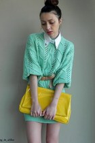 aquamarine thrifted sweater - yellow Local Boutique bag - white DIY accessories