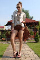 brown custom made leather shorts - beige custom made shirt - brown Lollipops acc