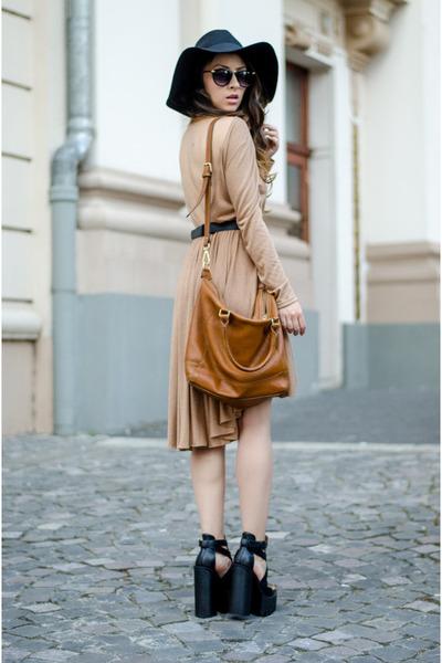 black Lamoda shoes - light brown Miss Grey dress - black H&M hat