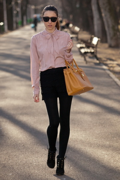light pink thrifted shirt - black Zara shorts