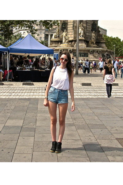 sky blue Topshop shorts - white Topshop top