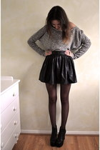 heather gray Topshop jumper - black studded skirt ark skirt