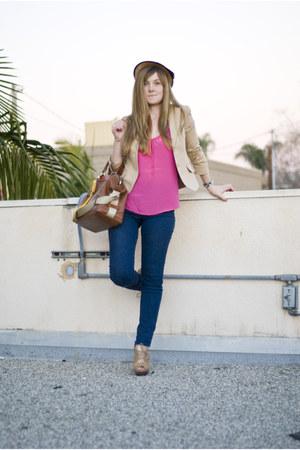 Michael Kors shoes - BDG jeans - straw vintage hat - silk Trina Turk shirt - lea