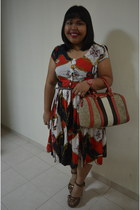 natical print vintage dress - speedy like bag - glittered H&M sandals
