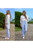ivory cream kimono H&M cape - light blue Topshop pants - white Primark sandals