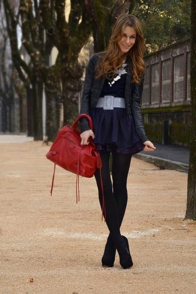 c9316a80cea3 navy dress - black jacket - red bag - violet belt