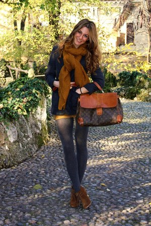 dark brown shoes - burnt orange dress - navy blazer - dark gray tights - burnt o