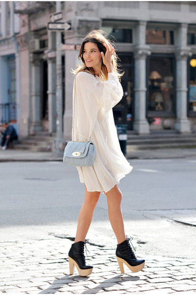 "White Dresses, Periwinkle Purses, Black Heels | ""The truth is: I ..."