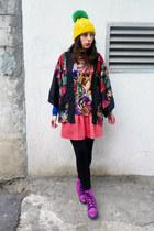 ruby red H&M cape - salmon Bershka skirt