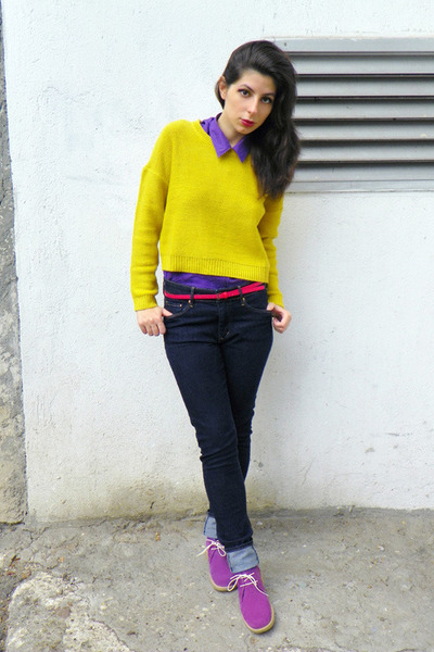 Yellow H&m Jumper Navy H&m