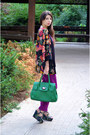 Purple-h-m-cape-teal-nissa-bag-magenta-zara-pants