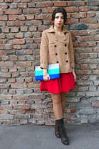 red asos dress - nude H&M coat