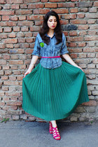 turquoise blue vintage skirt - sky blue Vero Moda shirt - hot pink Zara sandals