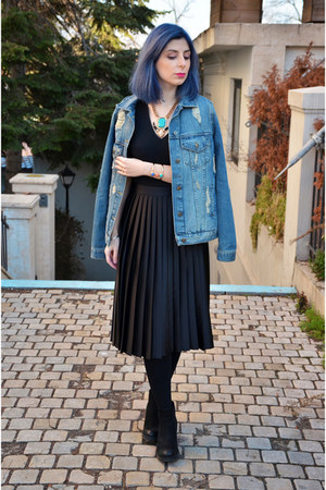 blue Bershka jacket - black Zara skirt