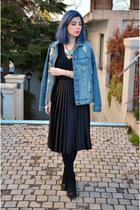 blue Bershka jacket - black Zara skirt