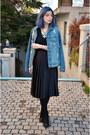 Blue-bershka-jacket-black-zara-skirt