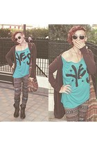 H&M boots - Terranova leggings - bag - H&M sunglasses - t-shirt - H&M cardigan