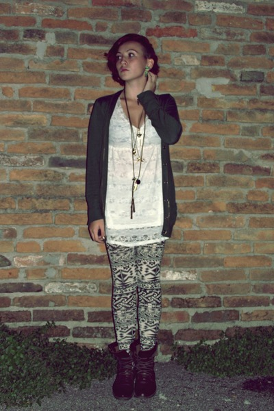 dark brown boots - white dress - black leggings - green cardigan - necklace