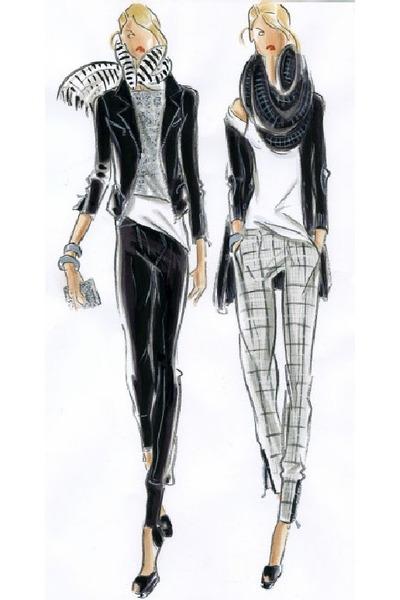 black pants - gray scarf