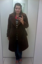 dark brown vintage Cerutti 1881 coat - periwinkle shoes - teal jeans