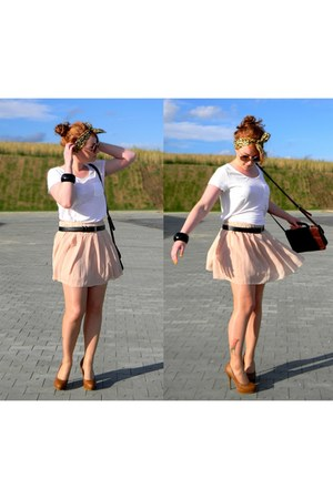 peach OASAP skirt - white cotton H&M shirt - burnt orange no name heels