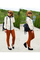 white Vero Moda shirt - black Topshop bag - burnt orange H&M pants