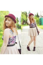 black boots - beige skirt - amethyst new look intimate