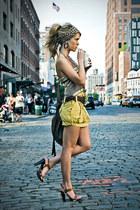yellow skirt - scarf - black earrings
