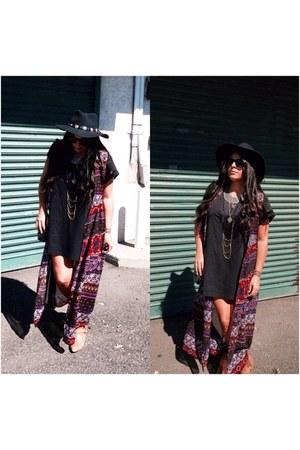 American Apparel dress - Forever 21 hat - vest - necklace