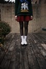 Vintage-sweater-vintage-skirt-vintage-hat-the-bay-socks-zara-shoes