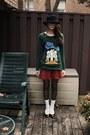 Vintage-sweater-vintage-skirt-vintage-hat-the-bay-socks-zara-shoes