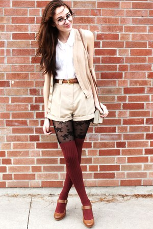 peach knit American Apparel vest - brown buckle Zara shoes